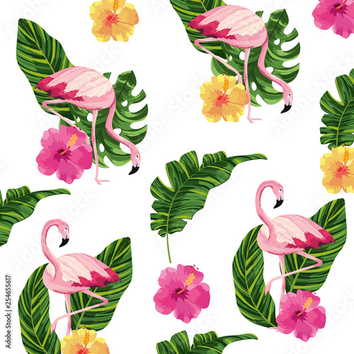 tropical flamingos cartoon © Stockgiu