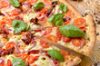 pizza with tomatoes and olives - 254679852