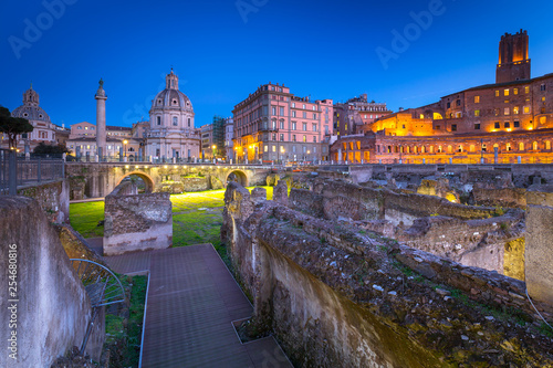 Ruins of the Trajan Forum in Rome at night, Italy