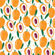Seamless pattern with plums. Stamp textured. Great for fabric, textile, wrapping paper. Vector Illustration - 254682638