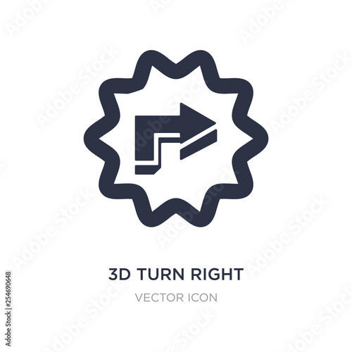 3d turn right arrow icon on white background. Simple element illustration from UI concept.