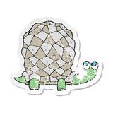 retro distressed sticker of a cartoon tortoise
