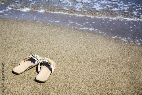 Women's slippers on the beach. - 254696695