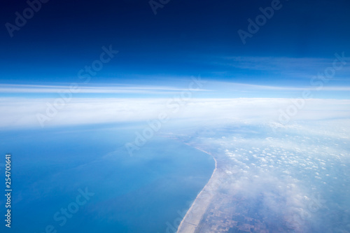 Clouds, a view from airplane window - 254700641