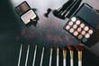 Leinwanddruck Bild - professional makeup set isolated on black background