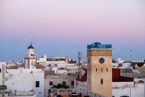 Moroccan fort city in Essaouira. Essaouira ancient building walls and fortress in Medina at sunset time