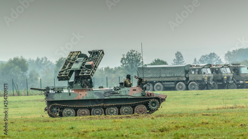 A moving tank in the military range, a military demonstration of nato in Ostrava.
