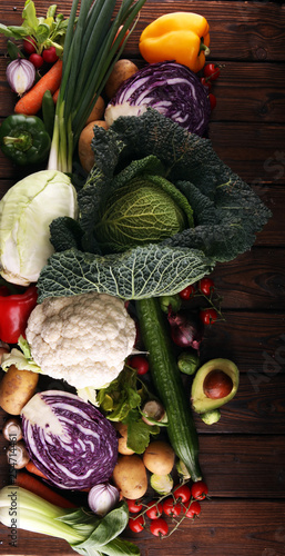 Composition with variety of raw organic vegetables and fruits. Balanced diet - 254714461