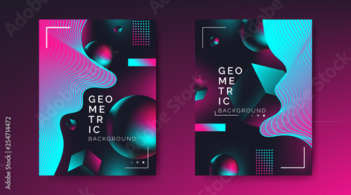 abstract  creative posters flyer design with 3d geometric shapes dynamic waves on dark background