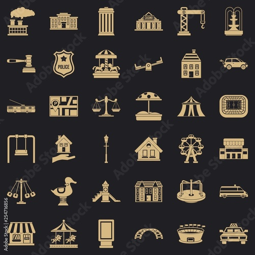 Big city icons set. Simple style of 36 big city vector icons for web for any design