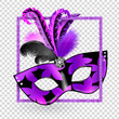 Carnival Mask with pink black lilac feathers in square on transparency background. Happy carnival festive concept. Vector illustration . Mardi gras