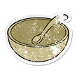 distressed sticker of a cartoon wooden bowl and spoon - 254717695