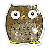 distressed sticker of a cartoon owl