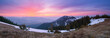 Panorama of the mountains with the dawn
