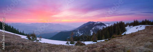 Panorama of the mountains with the dawn - 254727427
