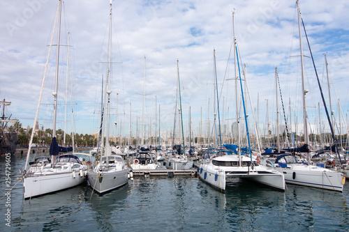 Yachts at the berth of Barcelona