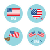 Set, collection of round icons, labers or stickers with USA flags. - 254733849