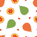 Cute cartoon style vector seamless pattern background with gac fruit or baby jack fruit. - 254733869