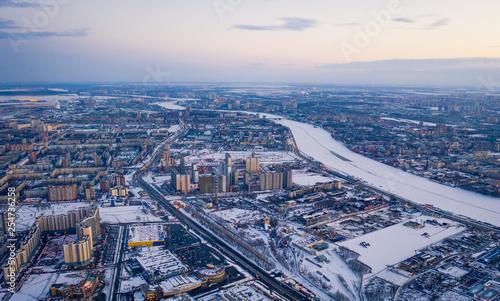 Aerial drone footage above modern part of Saint Petersburg.