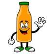 Orange Juice Mascot Waving - A vector cartoon illustration of a Orange Juice Mascot waving.
