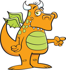 Cartoon illustration of a winged dragon pointing.