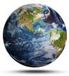 Leinwanddruck Bild - Planet Earth cyclone. 3d rendering
