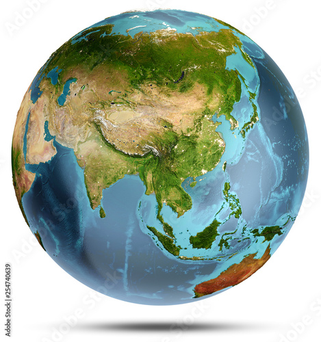 Leinwanddruck Bild Planet Earth from space. 3d rendering