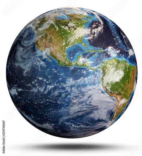 Leinwanddruck Bild Planet Earth cyclone. 3d rendering