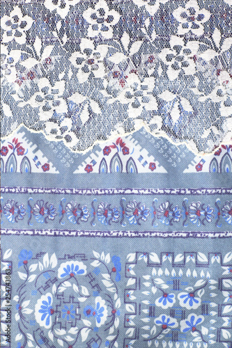Blue traditional textile of costume - 254743863