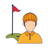 Golf player with flag and hole avatar blue lines