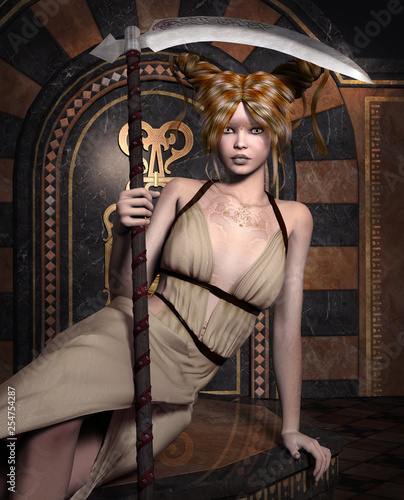 Warrior women series: beautiful blonde with a scythe in an ancient palace – 3D illustration - 254754287