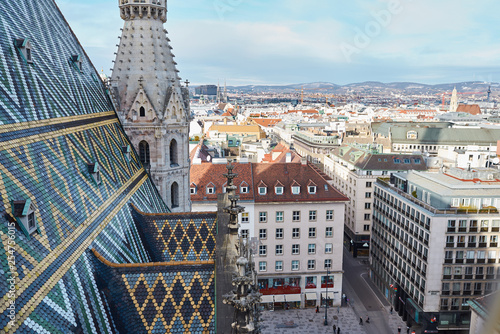 Vienna city, Austria, January 16, 2019, view of the city of Vienna over the roofs of houses and the pigeon of the sunny city, St. Stephen's Cathedral  - 254756015
