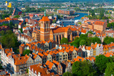 Aerial view of Gdansk with Gothic Church