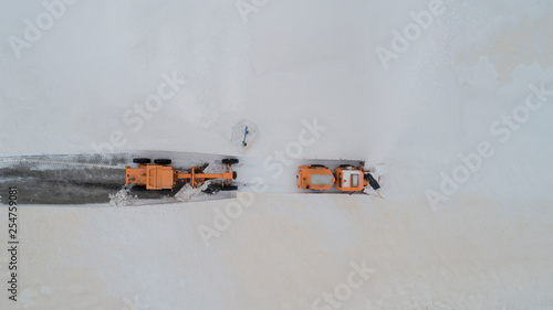 road works with construction machinery - 254759081