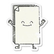 distressed sticker of a quirky hand drawn cartoon happy stack of papers