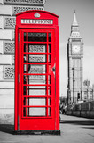 Fototapeta Big Ben - London's iconic telephone booth with the Big Ben clock tower in the background © kbarzycki