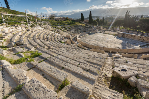 Panorama of Ruins of  theatre of Dionysus in Acropolis of Athens, Attica, Greece - 254765451
