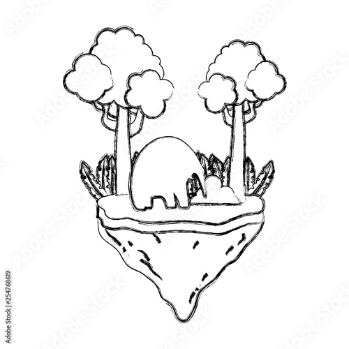 grunge elephant animal with trees in the float island © Stockgiu