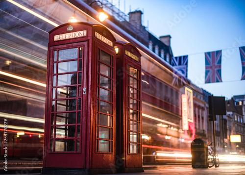 obraz lub plakat Red Phonebox Light Trails