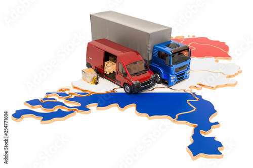 Shipping and Delivery in the Netherlands concept, 3D rendering