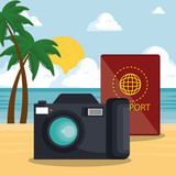 summer time with camera and passport