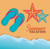 summer vacations with sandals and starfish