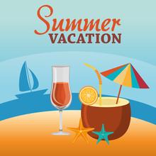 "Постер, картина, фотообои ""summer vacations beach with icons"""