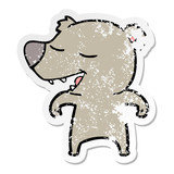 distressed sticker of a cartoon bear