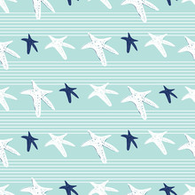 """Постер, картина, фотообои """"Coastal, nautical starfish repeat pattern. White pinstripes and sea stars on a turquoise background. Seamless vector design with fresh clean look that says vacation, beach wedding or resort and spa."""""""