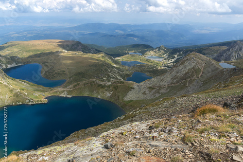 Amazing panoramic view of The Seven Rila Lakes, Rila Mountain, Bulgaria