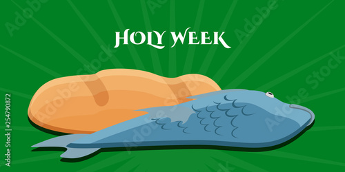Holy week banner with a bread and fish. Vector illustration design