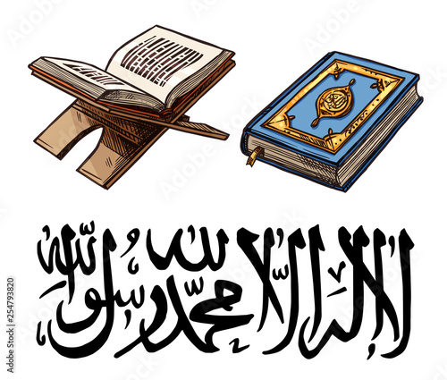 Islam religion symbol with Quaran book on stand