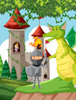 Castle with princess, knight and dragon - 254794825