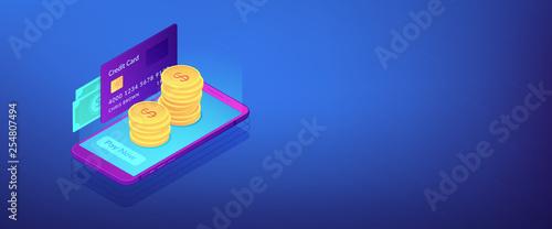 Money transfer isometric 3D banner header.